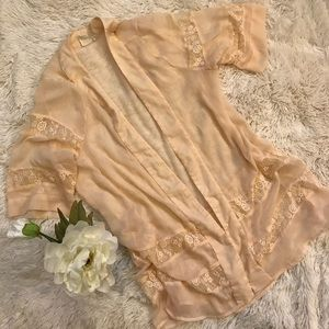 LA Hearts Pac Sun Light Peach Kimono One Size